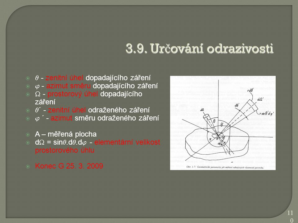 3.9. Určování odrazivosti  - zenitní úhel dopadajícího záření