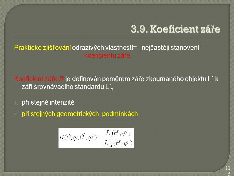 3.9. Koeficient záře Praktické zjišťování odrazivých vlastností= nejčastěji stanovení koeficientu záře.