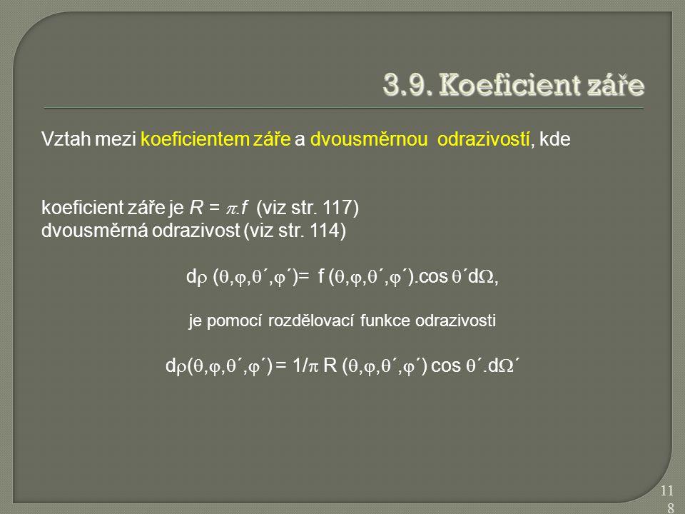 3.9. Koeficient záře Vztah mezi koeficientem záře a dvousměrnou odrazivostí, kde. koeficient záře je R = .f (viz str. 117)