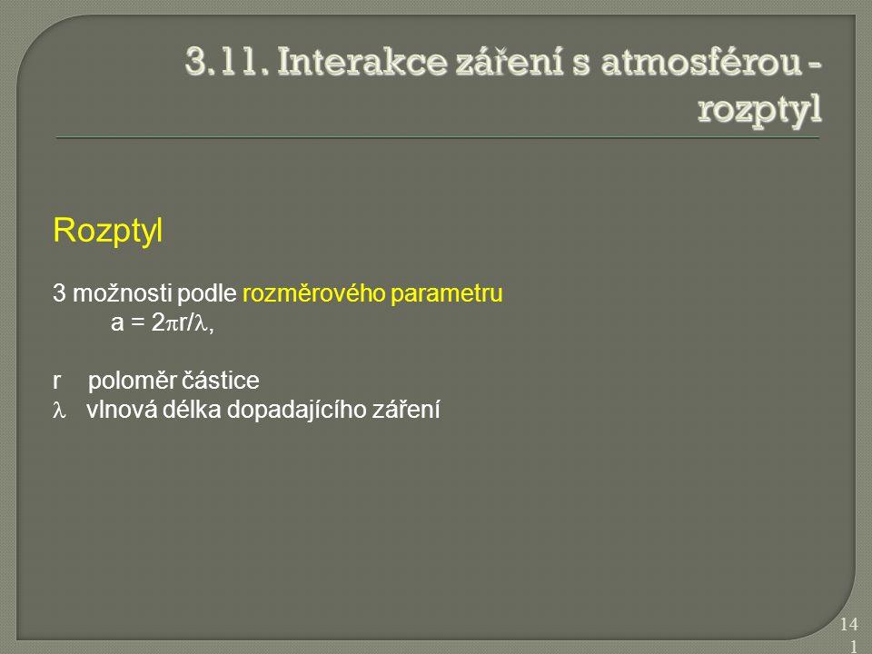 3.11. Interakce záření s atmosférou - rozptyl