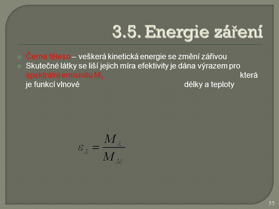 3.5. Energie záření Černé těleso – veškerá kinetická energie se změní zářivou.