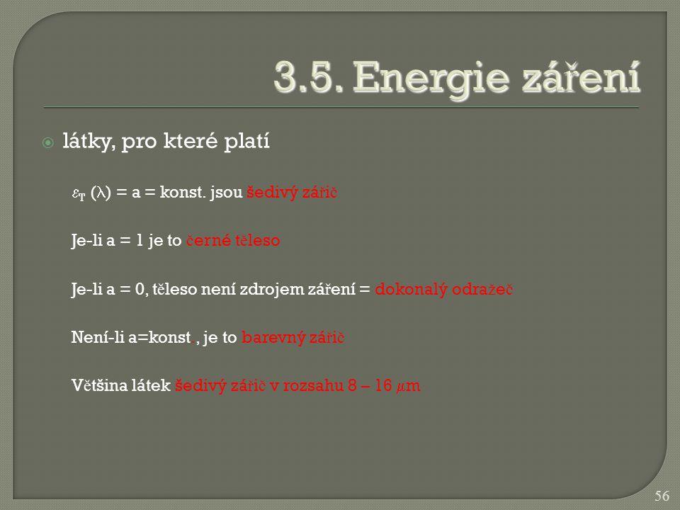 3.5. Energie záření látky, pro které platí
