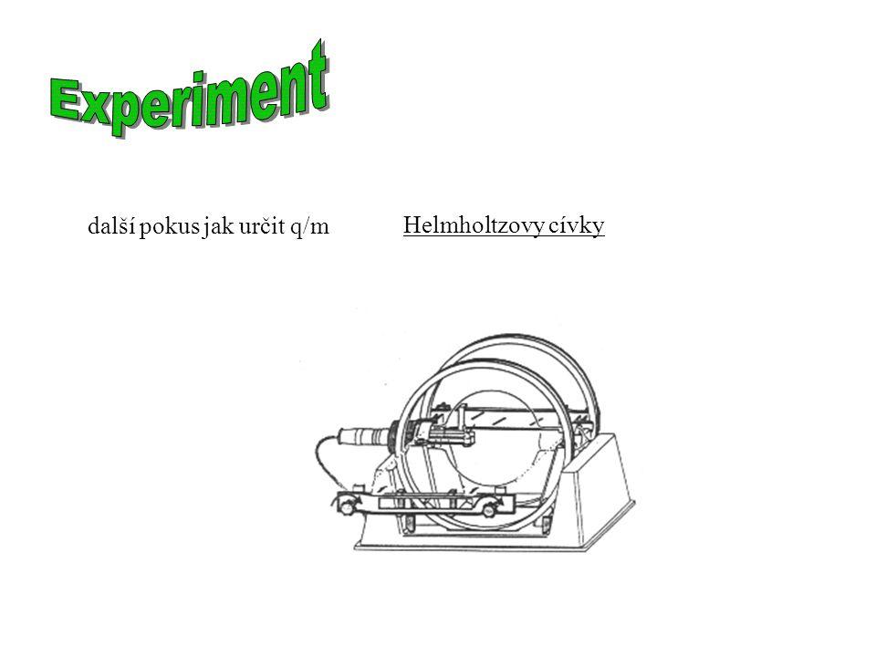 Experiment další pokus jak určit q/m Helmholtzovy cívky