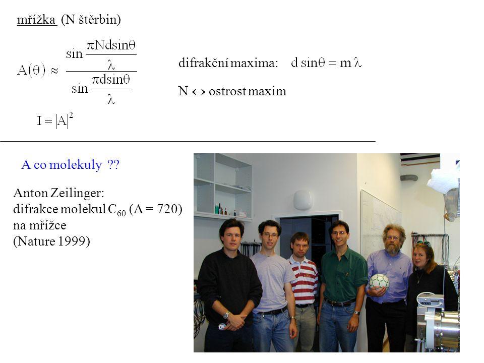 mřížka (N štěrbin) difrakční maxima: N  ostrost maxim. A co molekuly Anton Zeilinger: difrakce molekul C60 (A = 720)