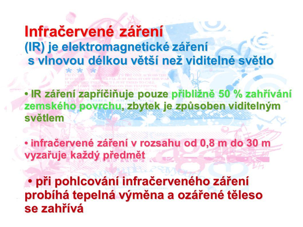 Infračervené záření (IR) je elektromagnetické záření