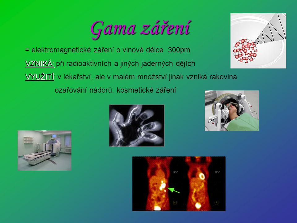 Gama záření = elektromagnetické záření o vlnové délce 300pm
