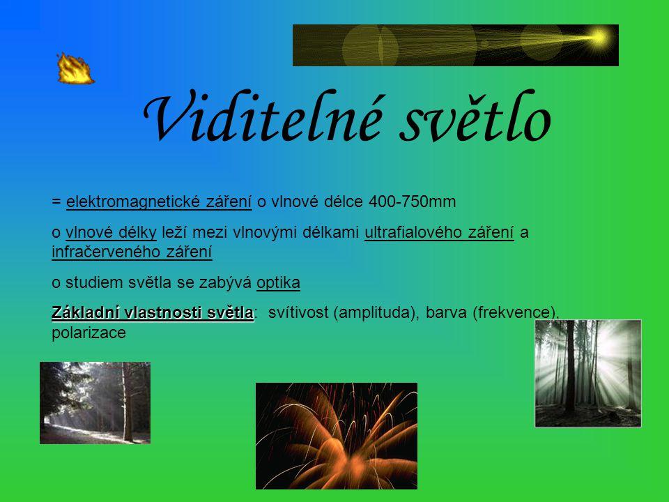 Viditelné světlo = elektromagnetické záření o vlnové délce 400-750mm