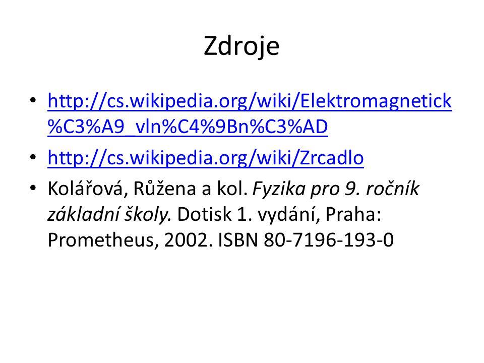 Zdroje http://cs.wikipedia.org/wiki/Elektromagnetick%C3%A9_vln%C4%9Bn%C3%AD. http://cs.wikipedia.org/wiki/Zrcadlo.