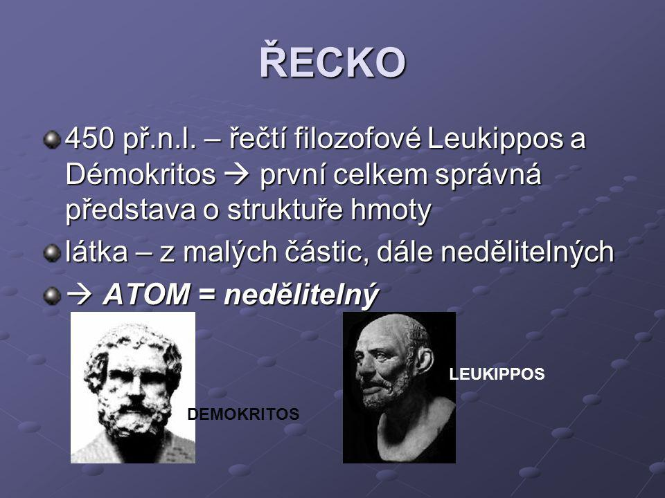 ŘECKO 450 př.n.l. – řečtí filozofové Leukippos a Démokritos  první celkem správná představa o struktuře hmoty.
