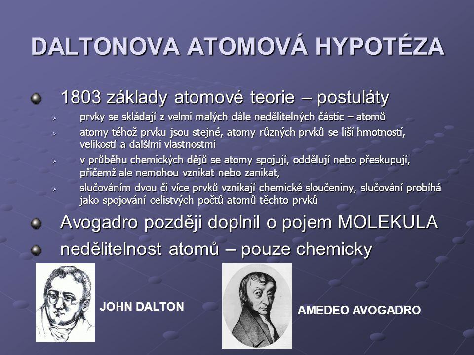 DALTONOVA ATOMOVÁ HYPOTÉZA