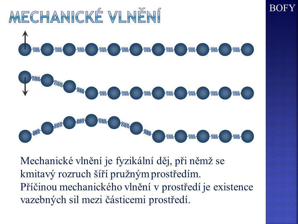 BOFY Mechanické Vlnění. Mechanické vlnění je fyzikální děj, při němž se kmitavý rozruch šíří pružným prostředím.