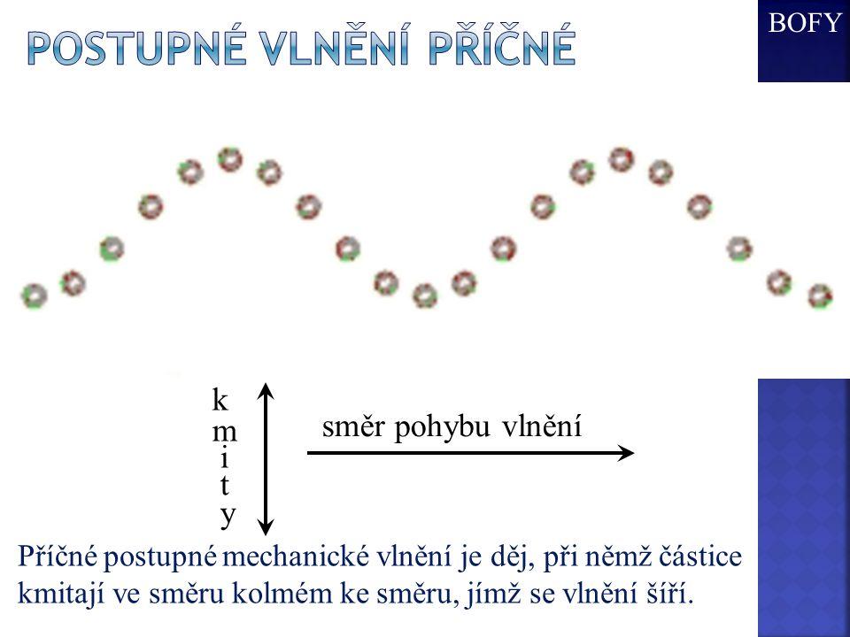 Postupné vlnění příčné směr pohybu vlnění k m i t y