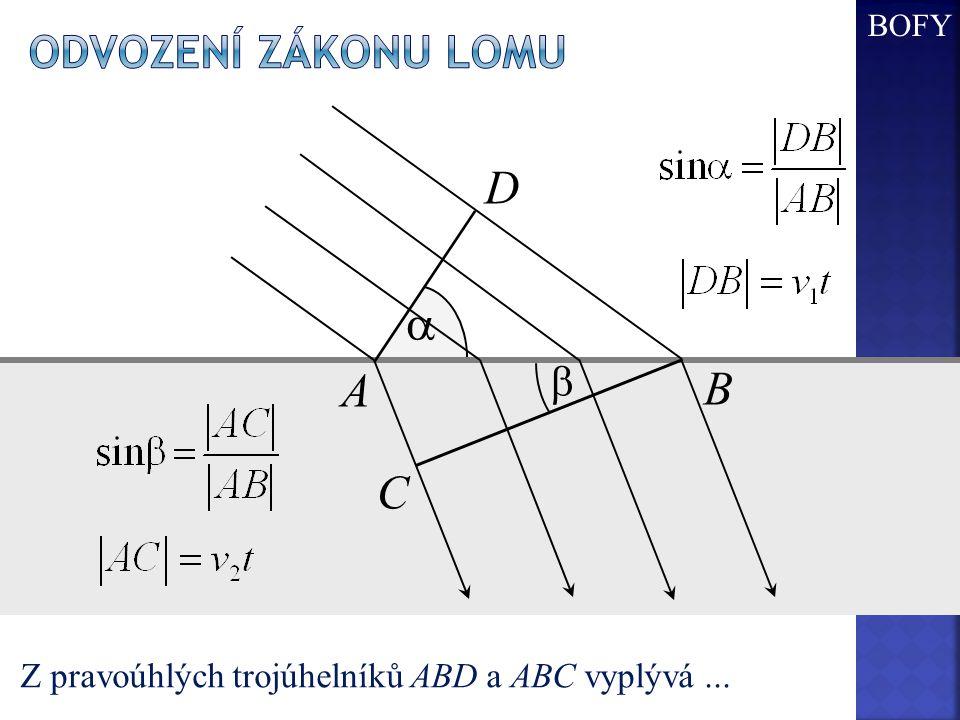 D a A B C Odvození zákonu lomu b