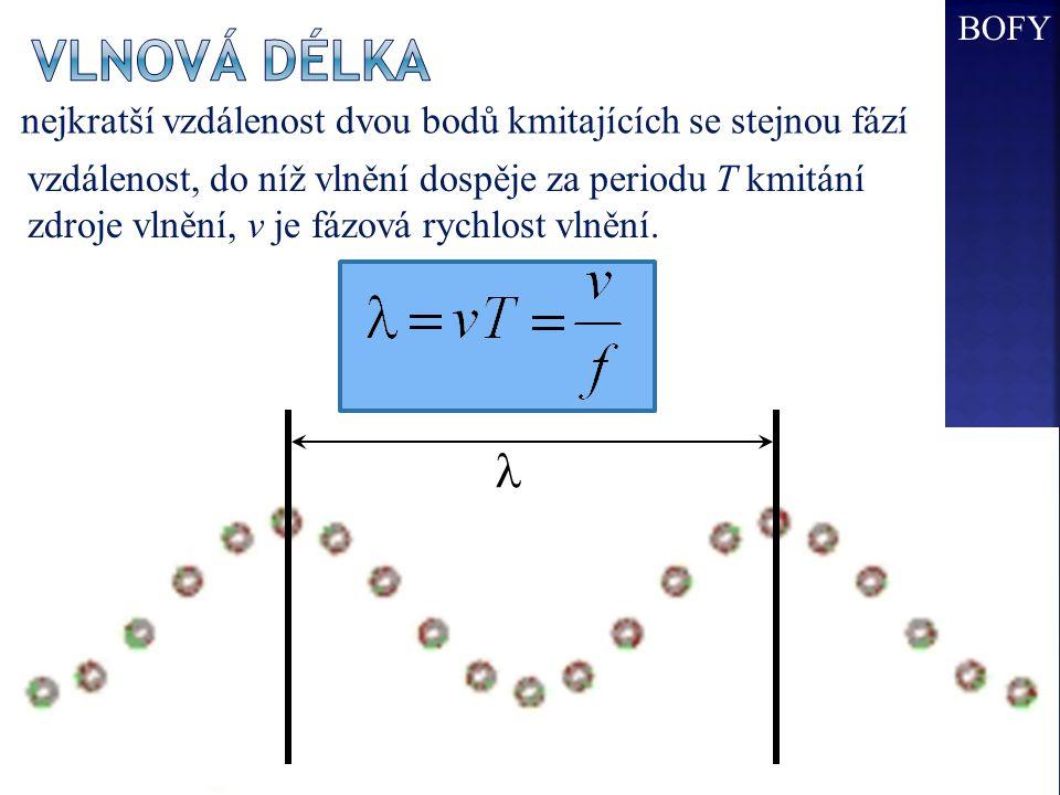 BOFY Vlnová délka. nejkratší vzdálenost dvou bodů kmitajících se stejnou fází.