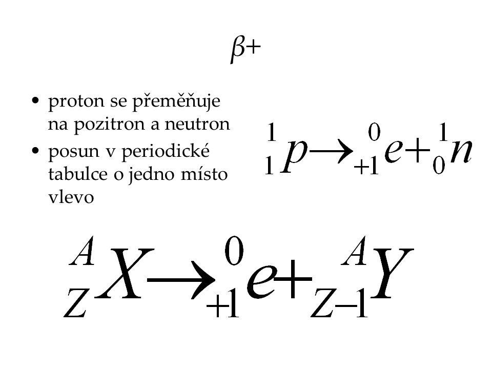 β+ proton se přeměňuje na pozitron a neutron