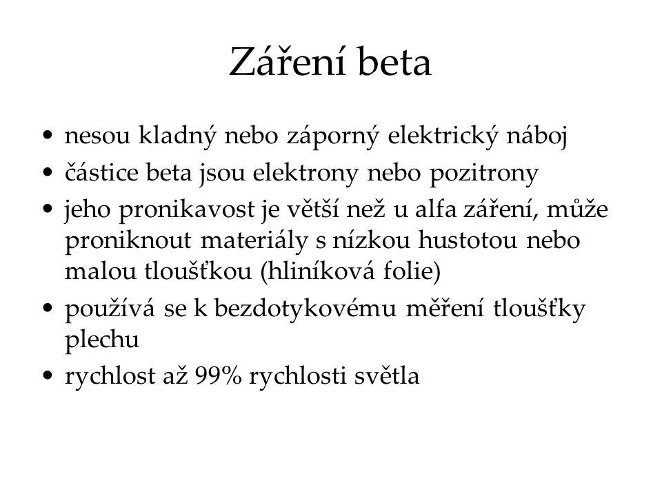Záření beta nesou kladný nebo záporný elektrický náboj