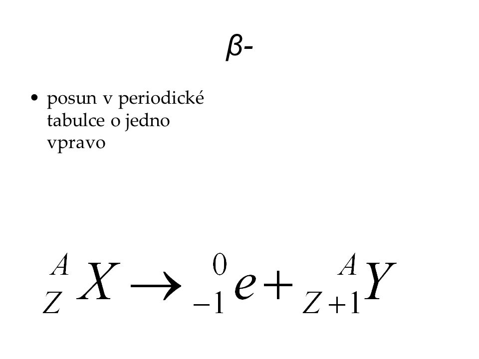 β- posun v periodické tabulce o jedno vpravo