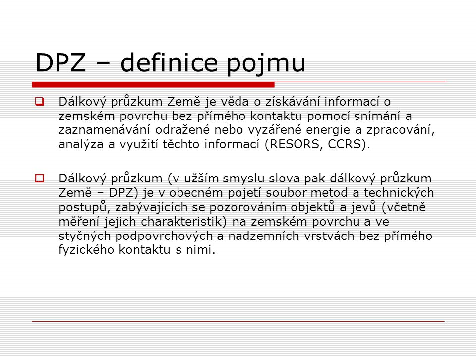 DPZ – definice pojmu