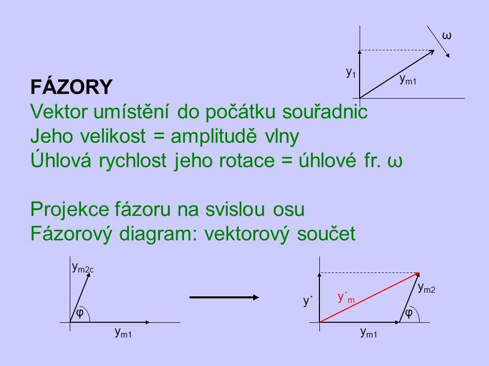 Vektor umístění do počátku souřadnic Jeho velikost = amplitudě vlny