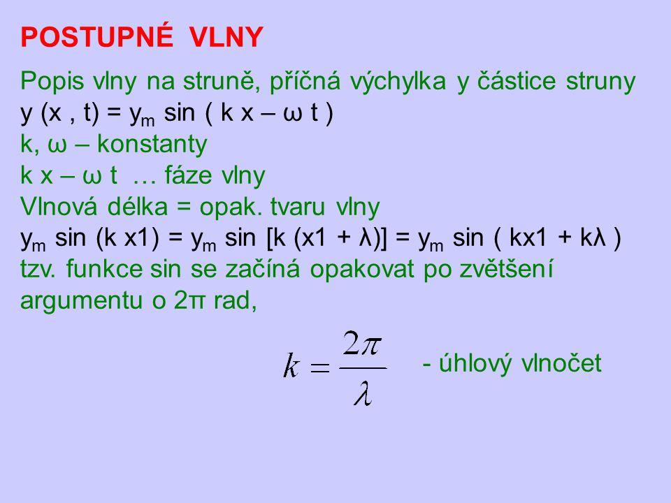 POSTUPNÉ VLNY Popis vlny na struně, příčná výchylka y částice struny