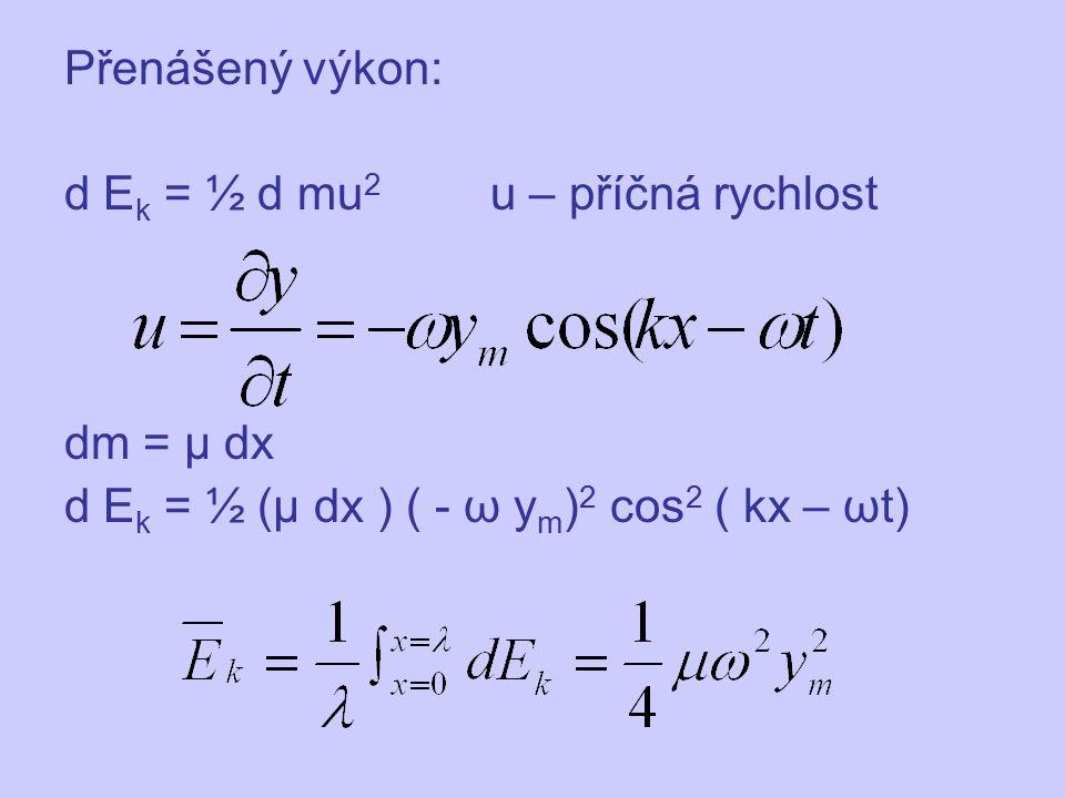 Přenášený výkon: d Ek = ½ d mu2 u – příčná rychlost.