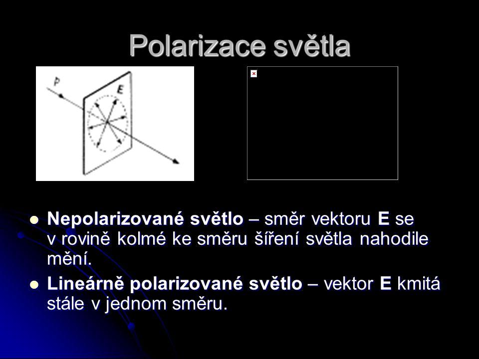 Polarizace světla Nepolarizované světlo – směr vektoru E se v rovině kolmé ke směru šíření světla nahodile mění.