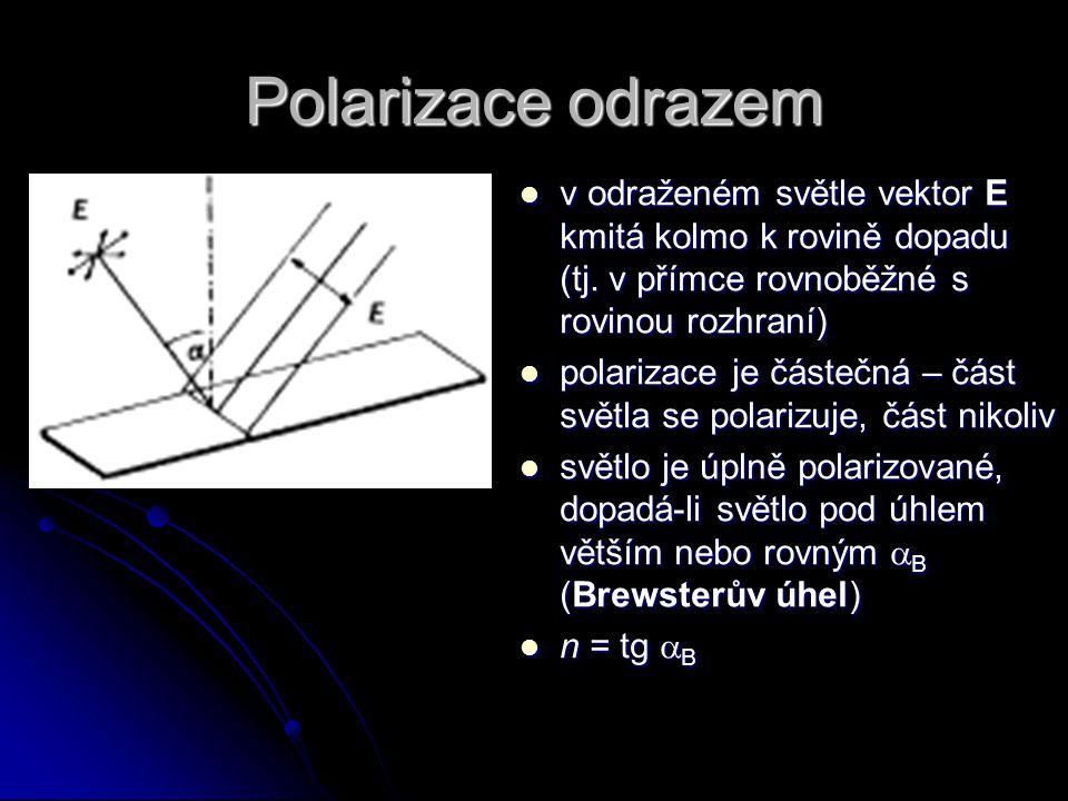Polarizace odrazem v odraženém světle vektor E kmitá kolmo k rovině dopadu (tj. v přímce rovnoběžné s rovinou rozhraní)