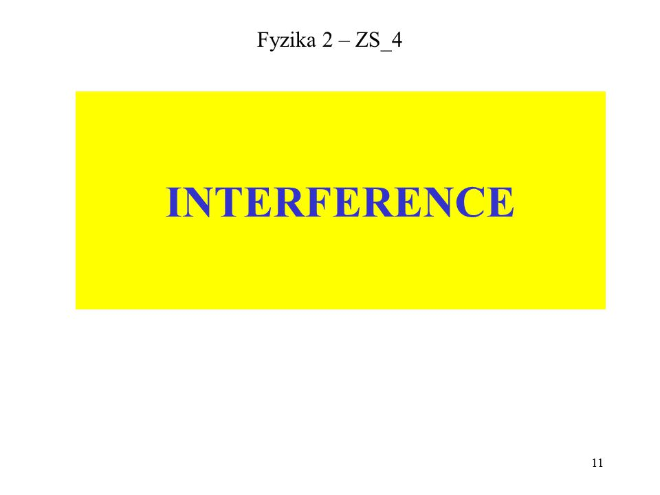 Fyzika 2 – ZS_4 INTERFERENCE