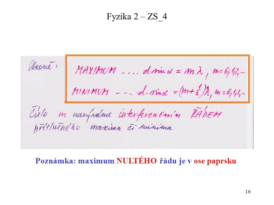 Poznámka: maximum NULTÉHO řádu je v ose paprsku