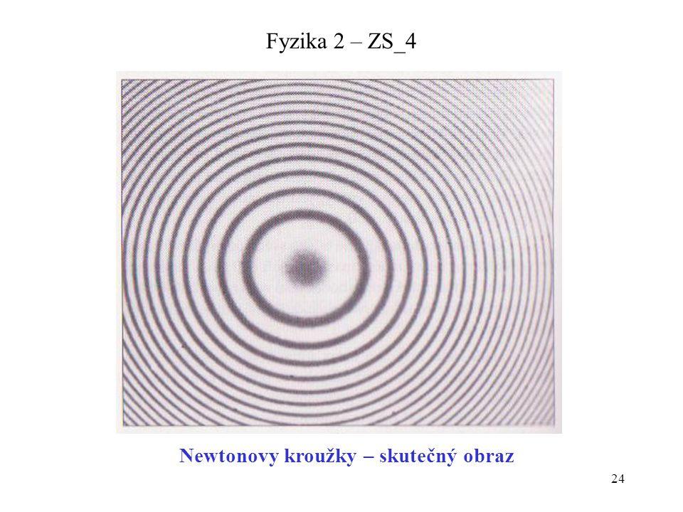 Newtonovy kroužky – skutečný obraz