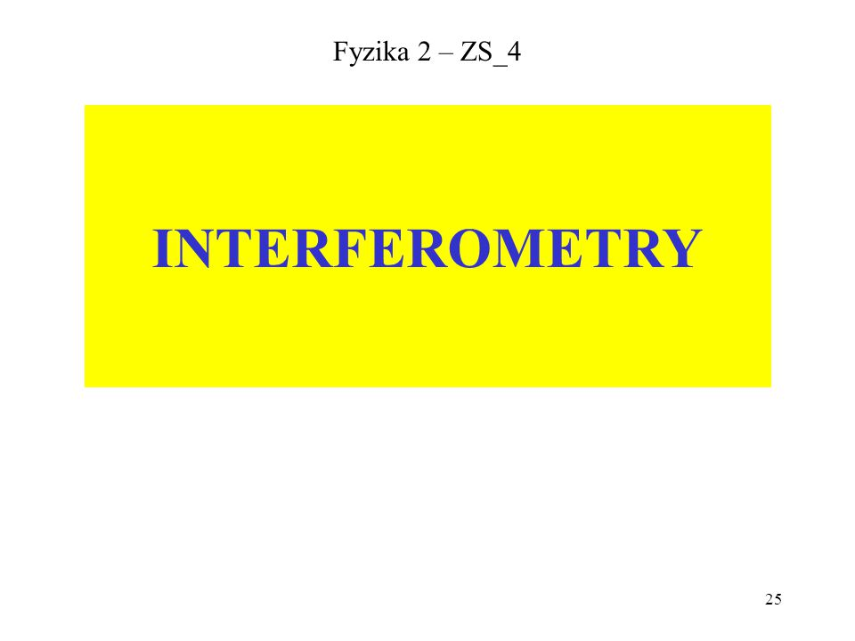 Fyzika 2 – ZS_4 INTERFEROMETRY