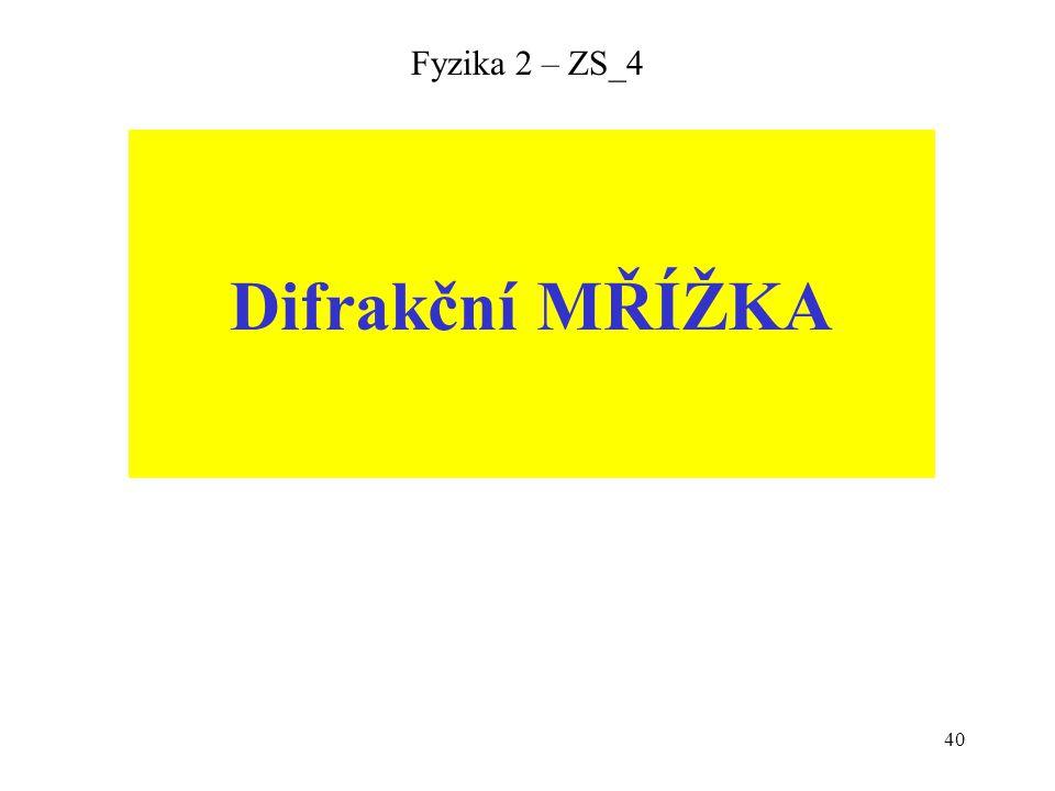 Fyzika 2 – ZS_4 Difrakční MŘÍŽKA