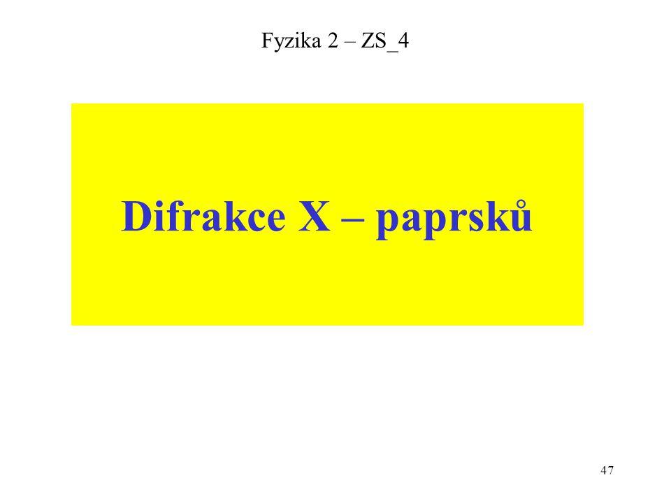 Fyzika 2 – ZS_4 Difrakce X – paprsků