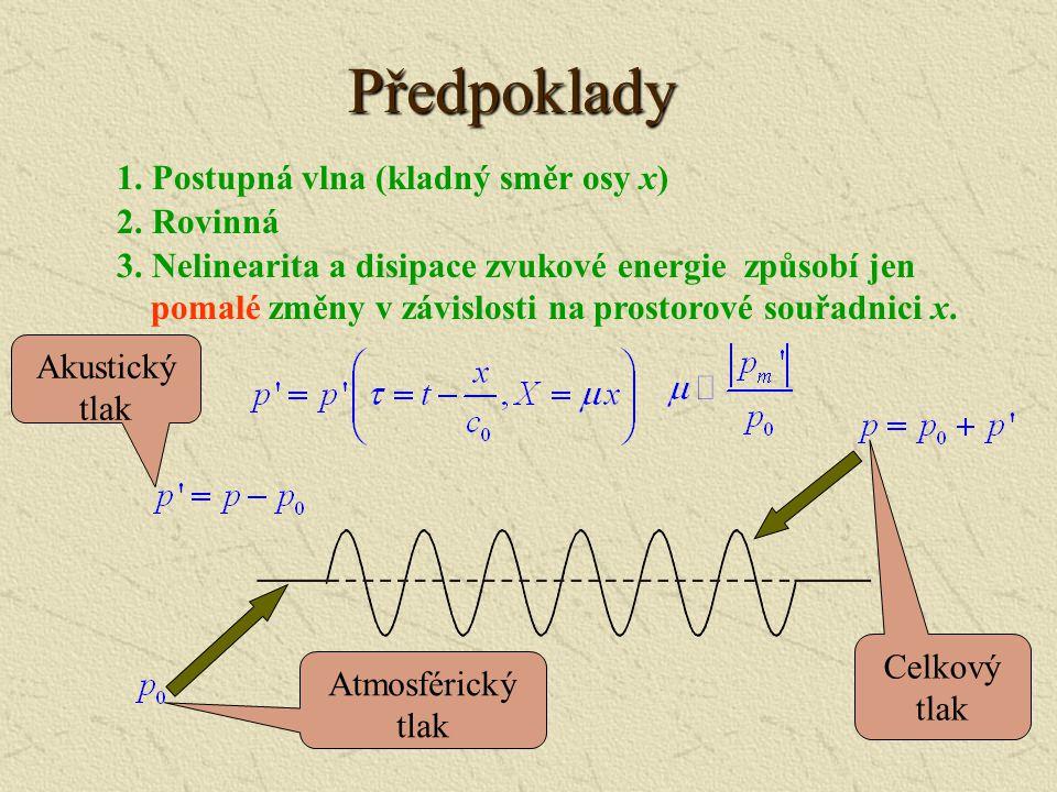 Předpoklady 1. Postupná vlna (kladný směr osy x) 2. Rovinná