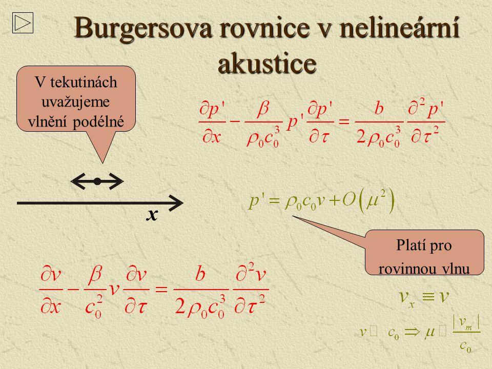 Burgersova rovnice v nelineární akustice
