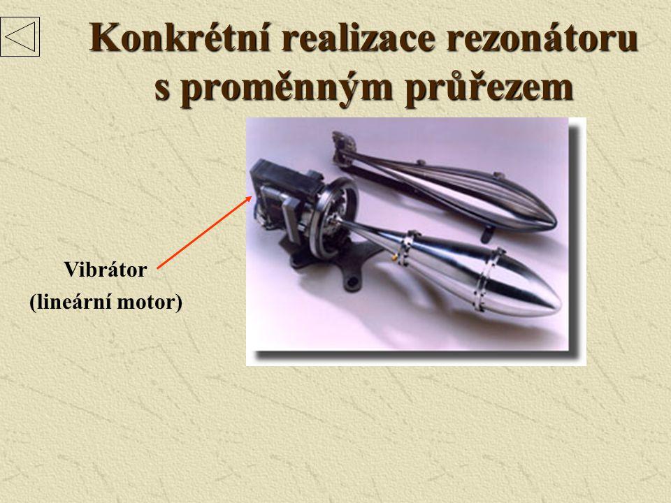 Konkrétní realizace rezonátoru s proměnným průřezem