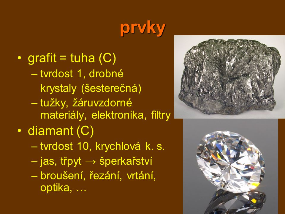 prvky grafit = tuha (C) diamant (C) tvrdost 1, drobné