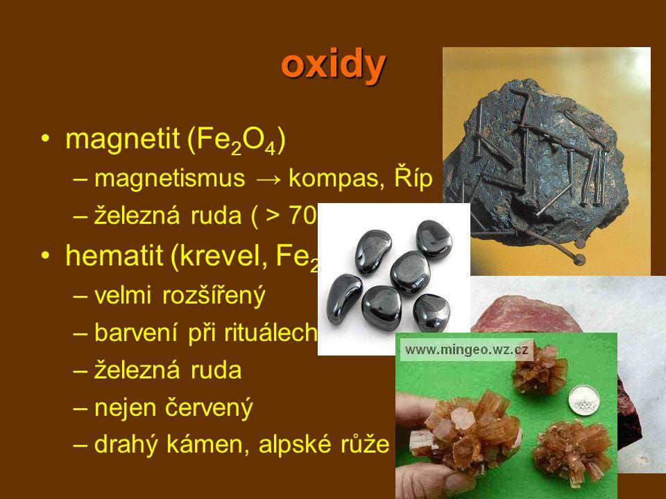 oxidy magnetit (Fe2O4) hematit (krevel, Fe2O3)