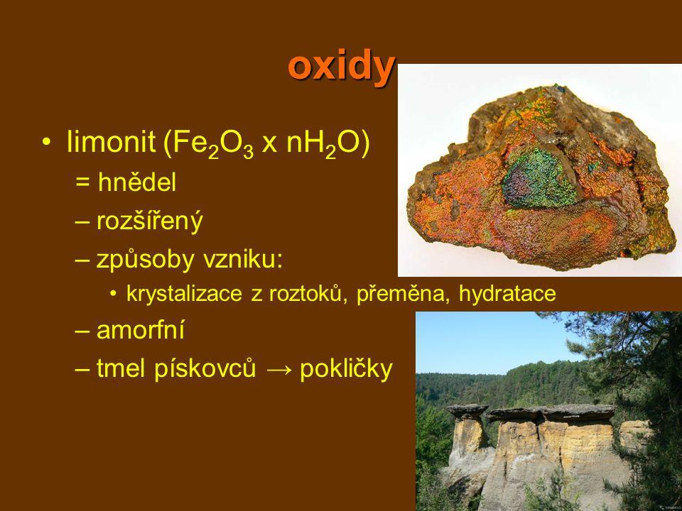 oxidy limonit (Fe2O3 x nH2O) = hnědel rozšířený způsoby vzniku: