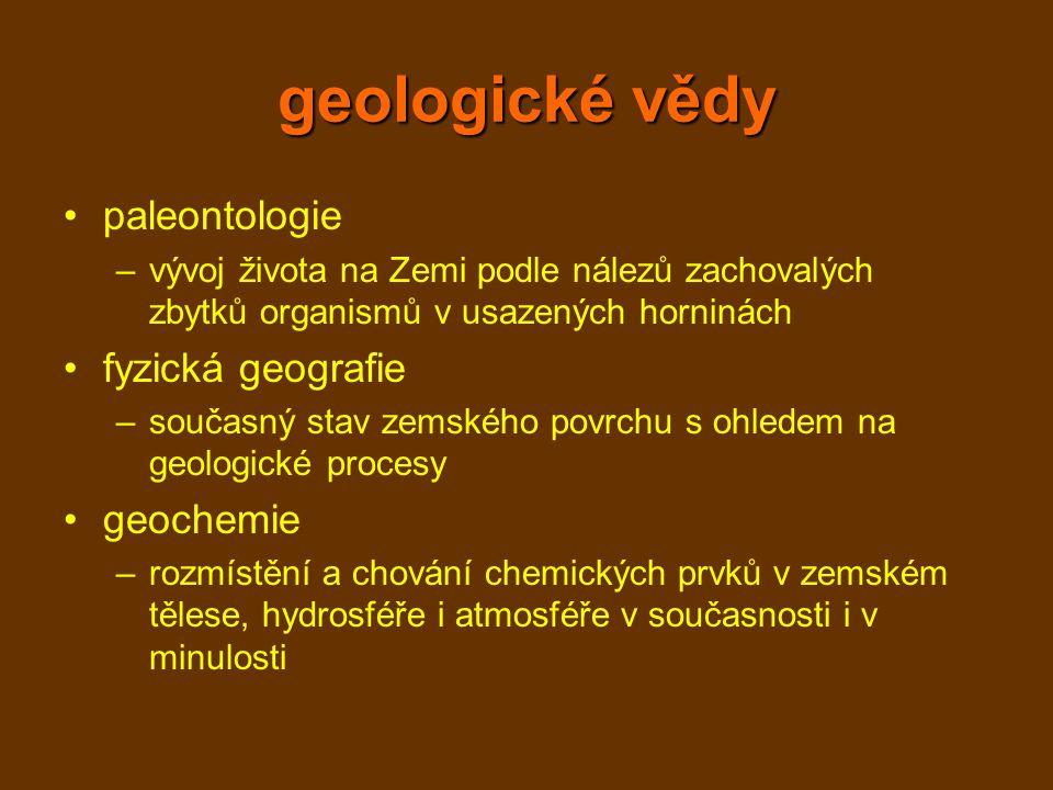geologické vědy paleontologie fyzická geografie geochemie