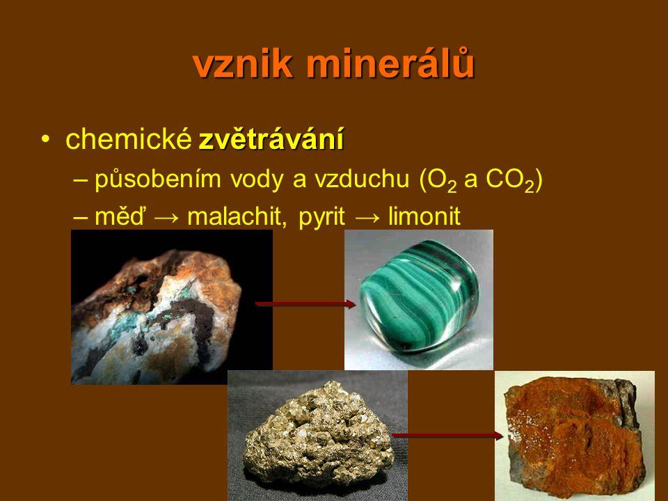 vznik minerálů chemické zvětrávání působením vody a vzduchu (O2 a CO2)