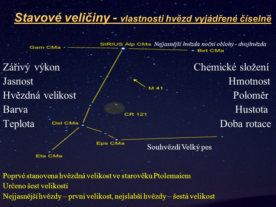 Stavové veličiny - vlastnosti hvězd vyjádřené číselně