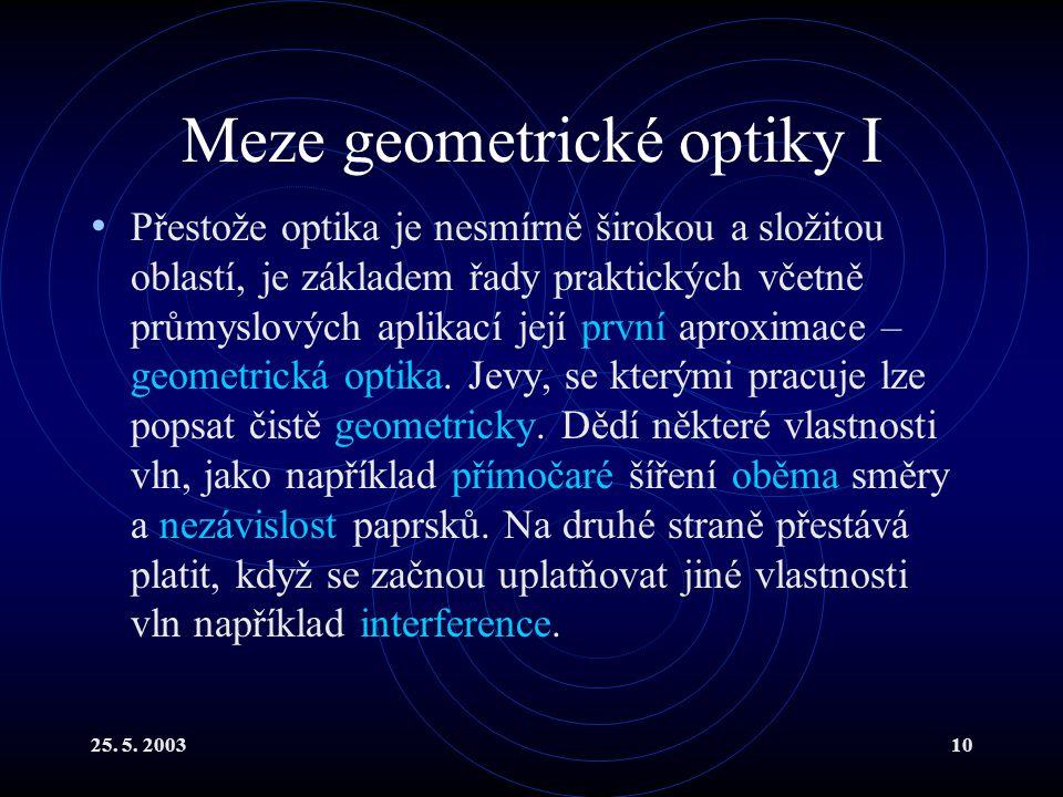 Meze geometrické optiky I