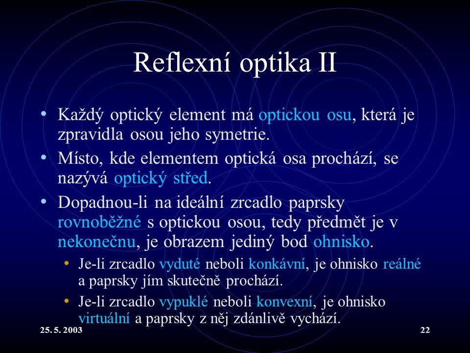 Reflexní optika II Každý optický element má optickou osu, která je zpravidla osou jeho symetrie.