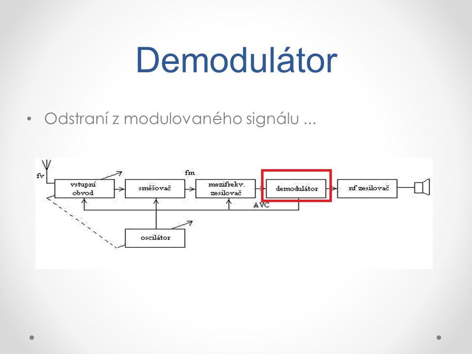 Demodulátor Odstraní z modulovaného signálu ...
