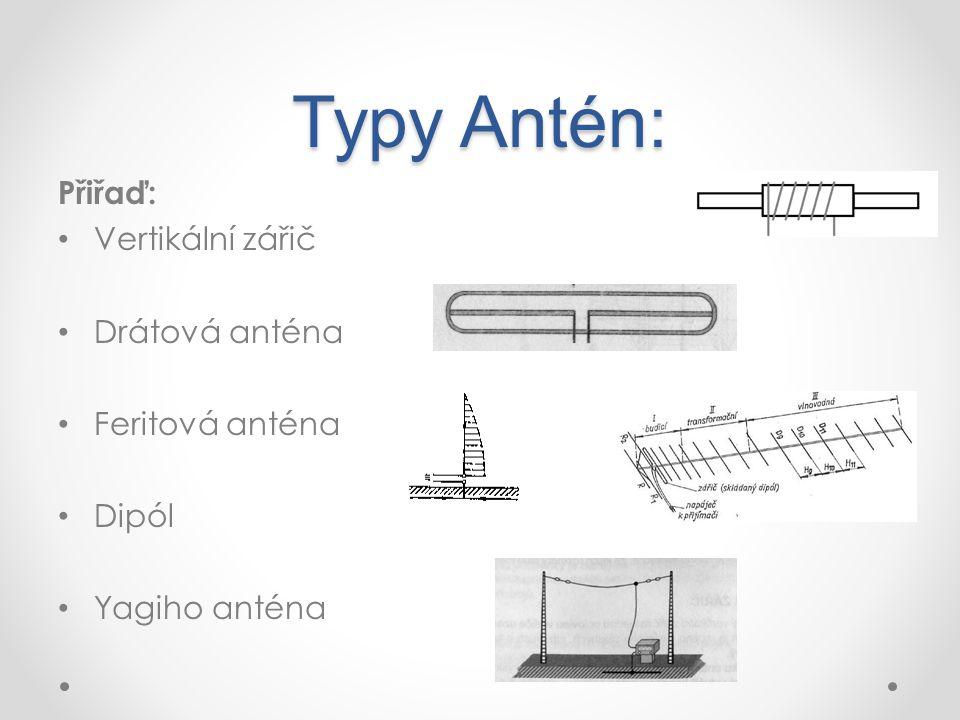 Typy Antén: Přiřaď: Vertikální zářič Drátová anténa Feritová anténa