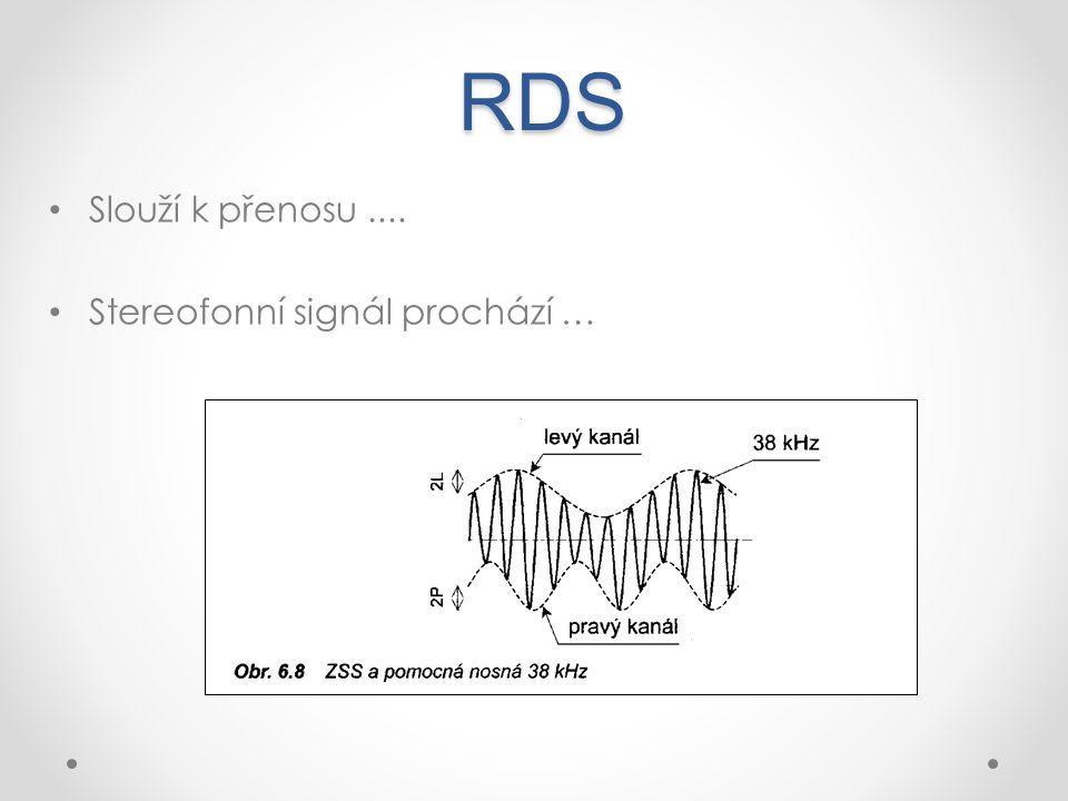 RDS Slouží k přenosu .... Stereofonní signál prochází …