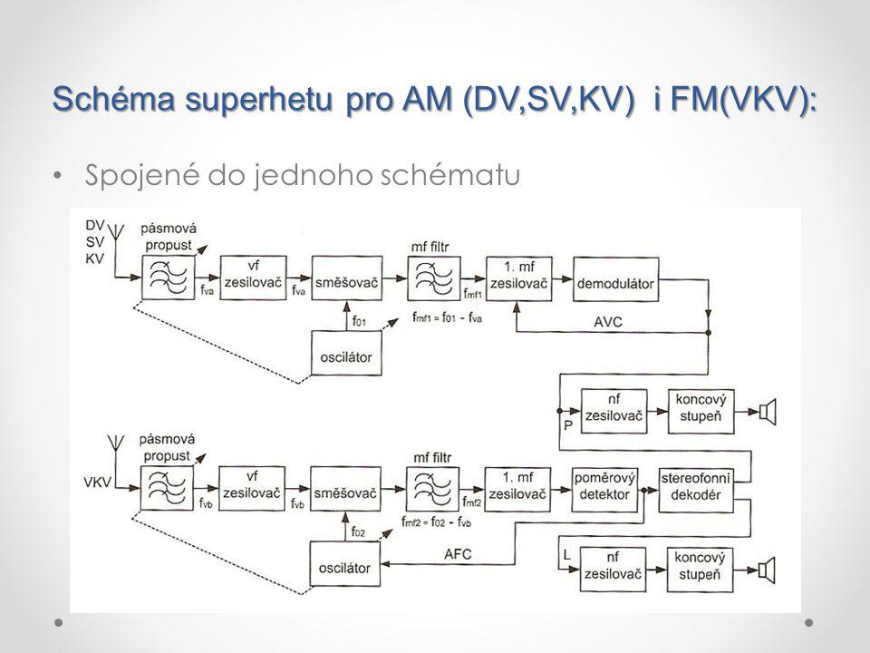 Schéma superhetu pro AM (DV,SV,KV) i FM(VKV):
