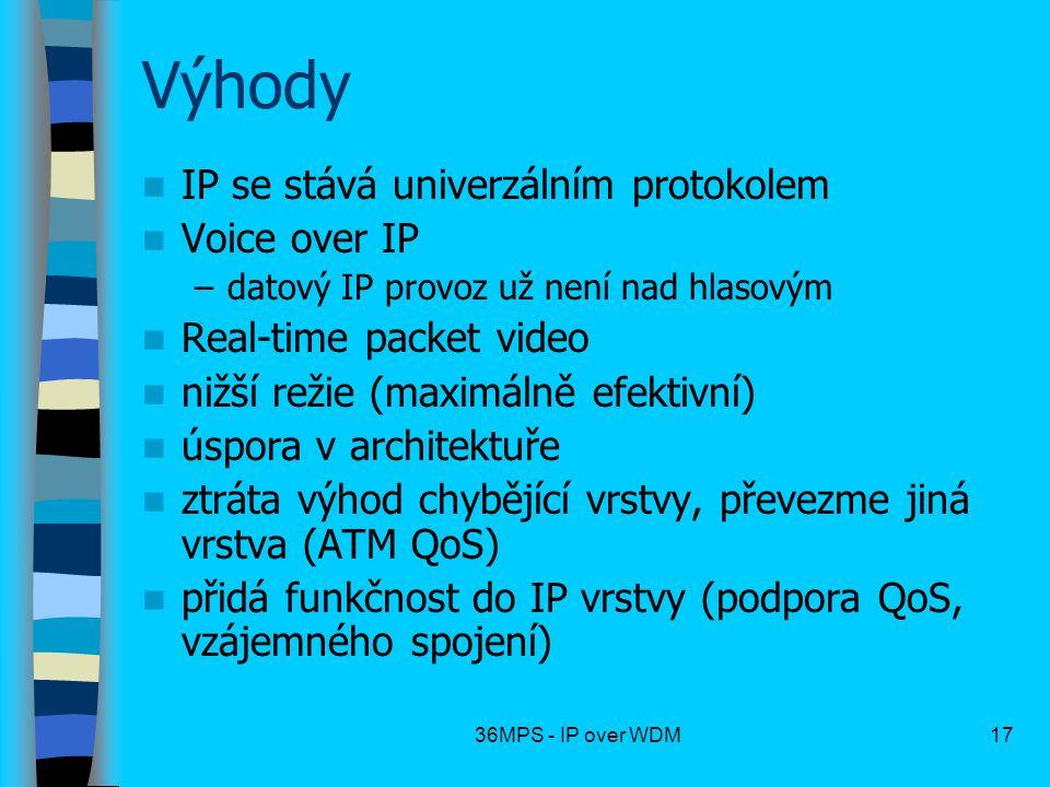 Výhody IP se stává univerzálním protokolem Voice over IP