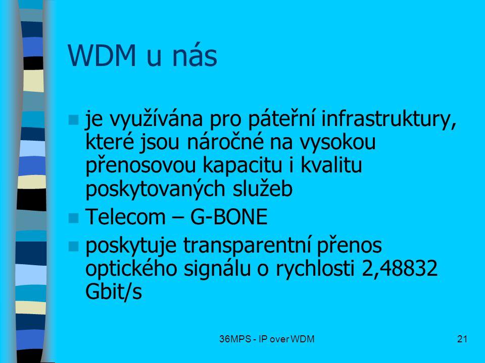 WDM u nás je využívána pro páteřní infrastruktury, které jsou náročné na vysokou přenosovou kapacitu i kvalitu poskytovaných služeb.
